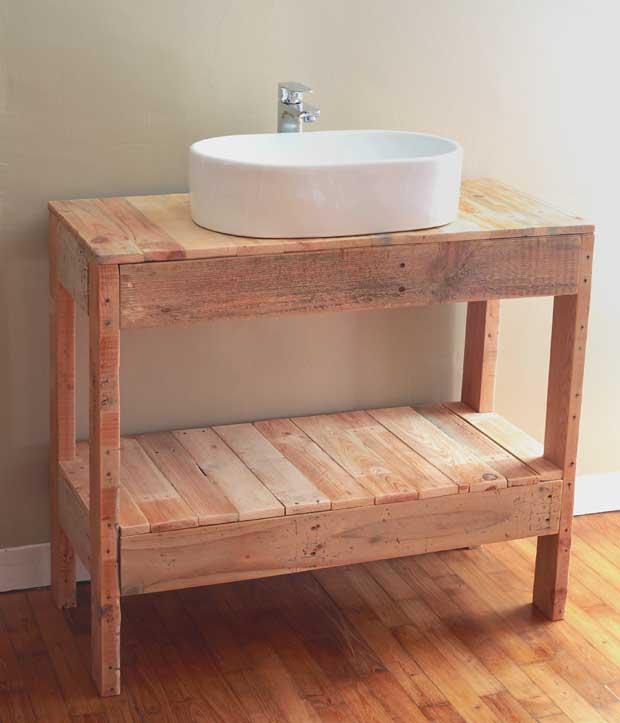 Diy Un Meuble Vasque En Palettes Pour La Salle De Bains Esprit Cabane
