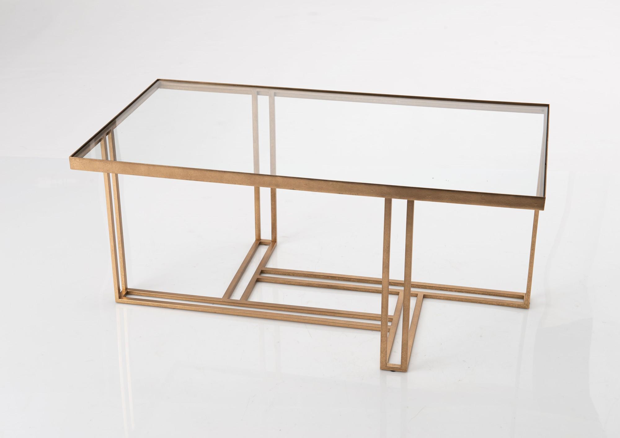 table basse luxe en metal dore et plateau en verre