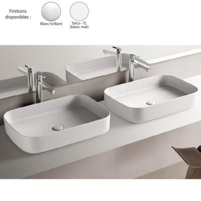 Vasque Rectangulaire 60x40 Design Shui Comfort Ceramique Blanc Cielo