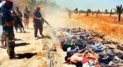 Imagem do vídeo divulgado pelo EI mostrando execução em massa de inimigos.
