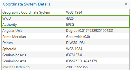 WKID and Authority highlighted in the details list of a geographic coordinate system