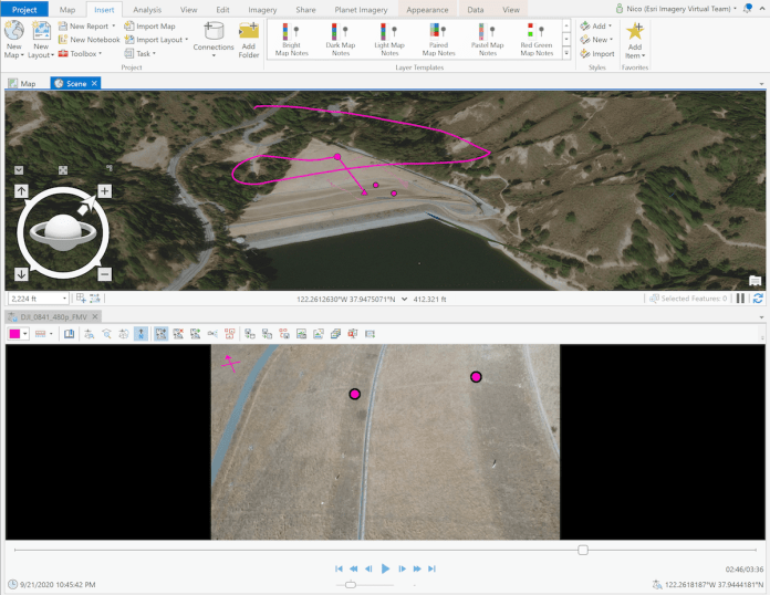 ArcGIS Pro FMV displaying 3D scene and drone video