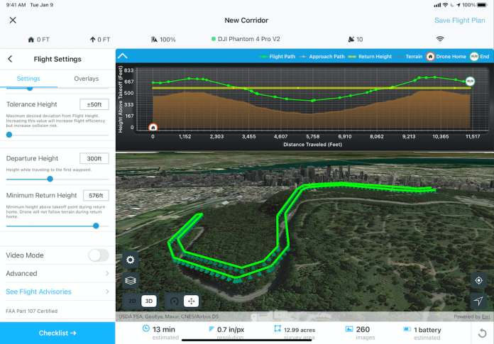 Site Scan Flight App Corridor Scan 3D view with Terrain Follow