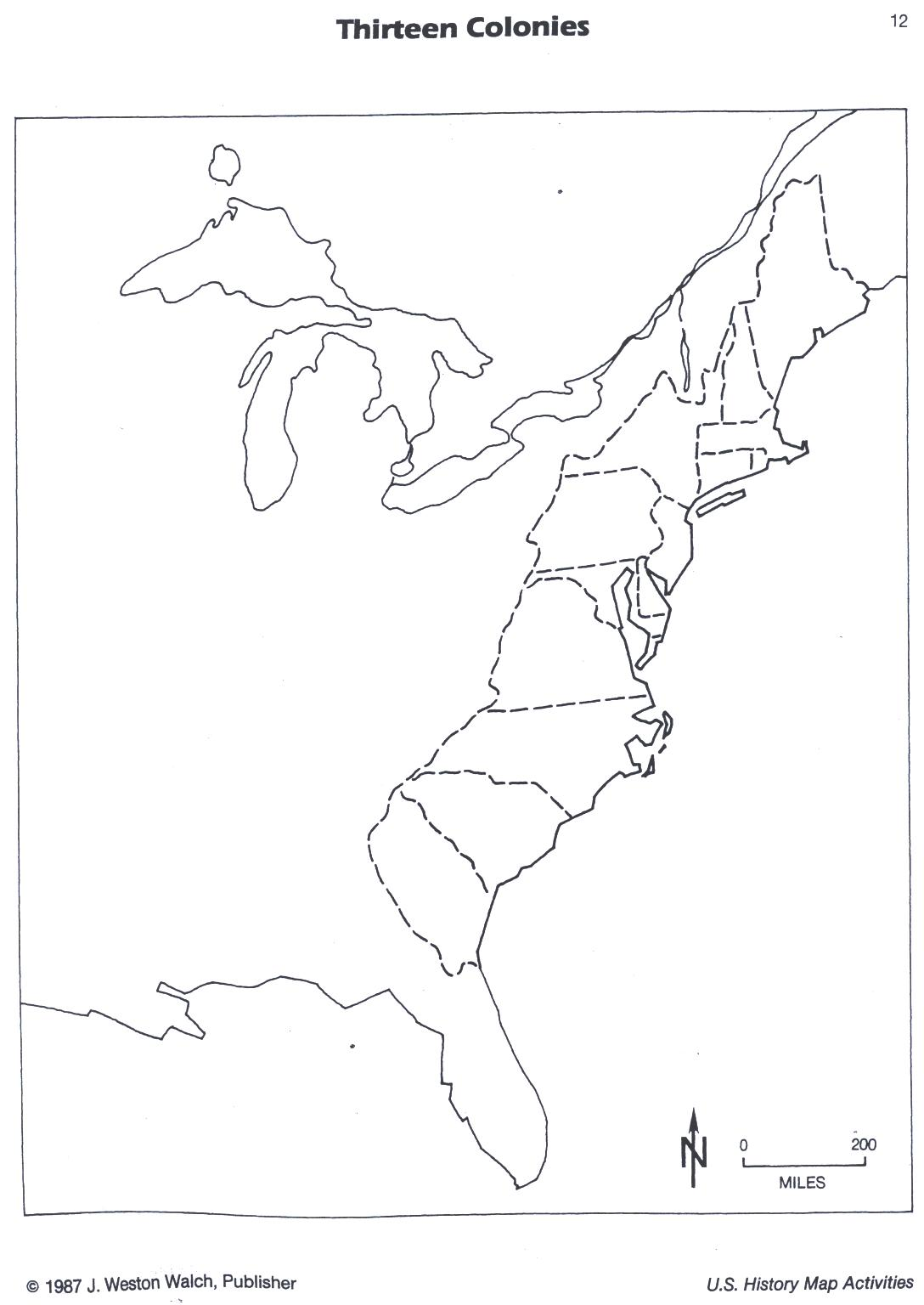 American History Mrs Allen Name 13 Colonies Map
