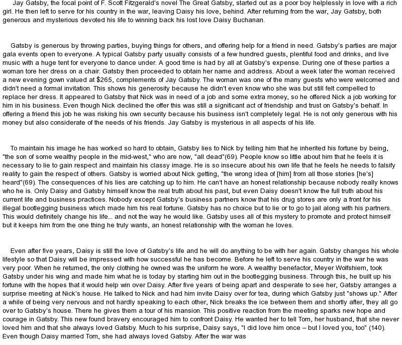 Jay Gatsby Character Analysis Essay  Hepatitze  Healthy Eating Essays also High School Essay Help  Database Assignment Help