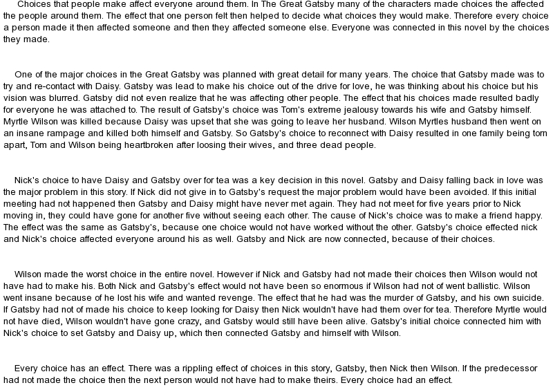 example about great gatsby writing style creative writing response to the great gatsby for your formal assessment of the great gatsby you will have the opportunity to choose one of the following