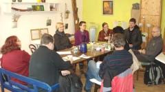 Foto: Die Stadtgärtner/-innen beim Arbeitstreffen im Atelier Fuhg in der Ritterstrasse