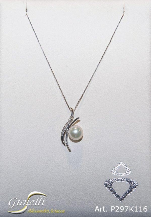 Collana in oro bianco con pendente in perla naturale e diamante