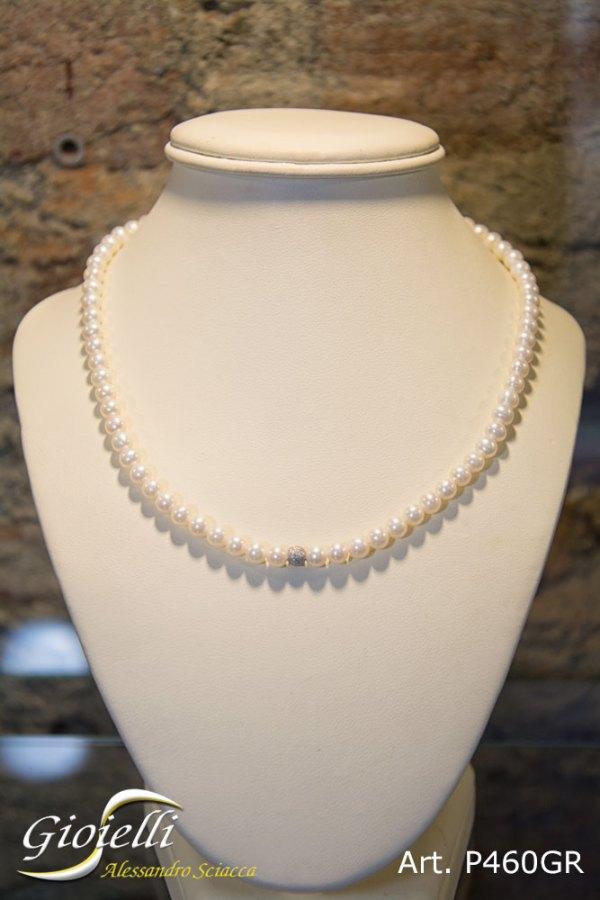 P460GR - Girocollo in perle naturali acqua dolce