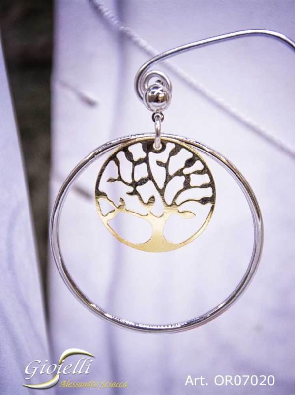 Orecchini cerchi pendenti in acciaio bicolore argento/oro con albero della vita