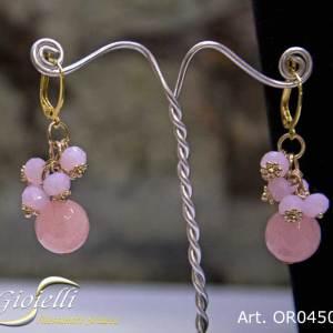 Orecchini pendenti con charm quarzo rosa