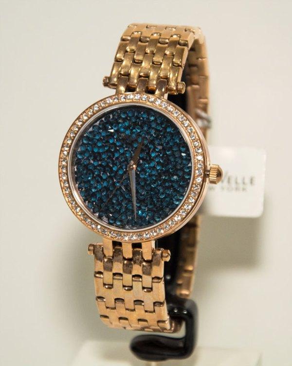 Orologio solo tempo con quadrante Swarovski blu cinturino in acciaio ramato