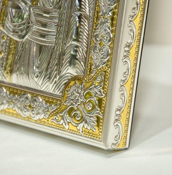 Icona raffugurante la Beata Vergine Maria di Kazan, riproduzione originale di iconografia bizantina, in argento e placcatura oro