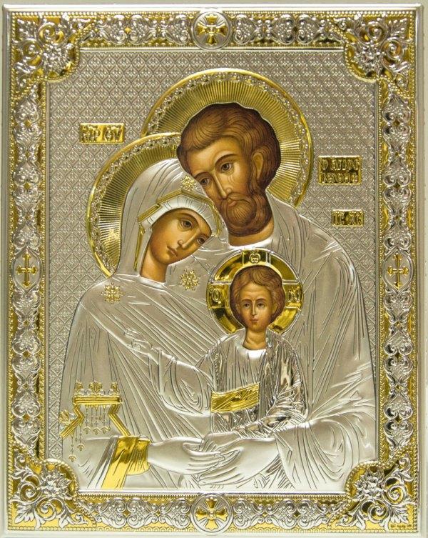 Icona raffigurante sacra famiglia, riproduzione originale iconografia bizantina, in argento e placcatura oro 24kt