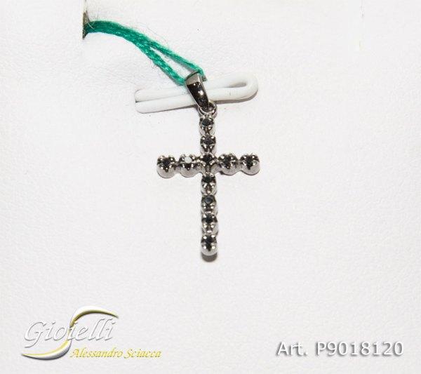 Pendente croce in oro bianco con diamanti neri