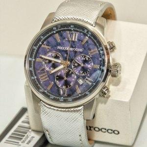 Orologio cronografo cinturino in pelle argentata, quadrante blu