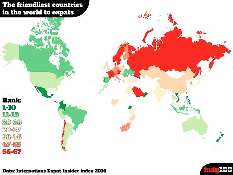 Os melhores e piores países do mundo para fazer amigos (Arte indy100)