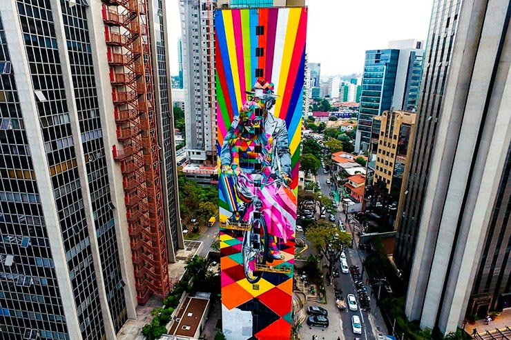 Mural do Kobra Faria Lima, em SP (Foto: Fernando Brisolla/Divulgação)