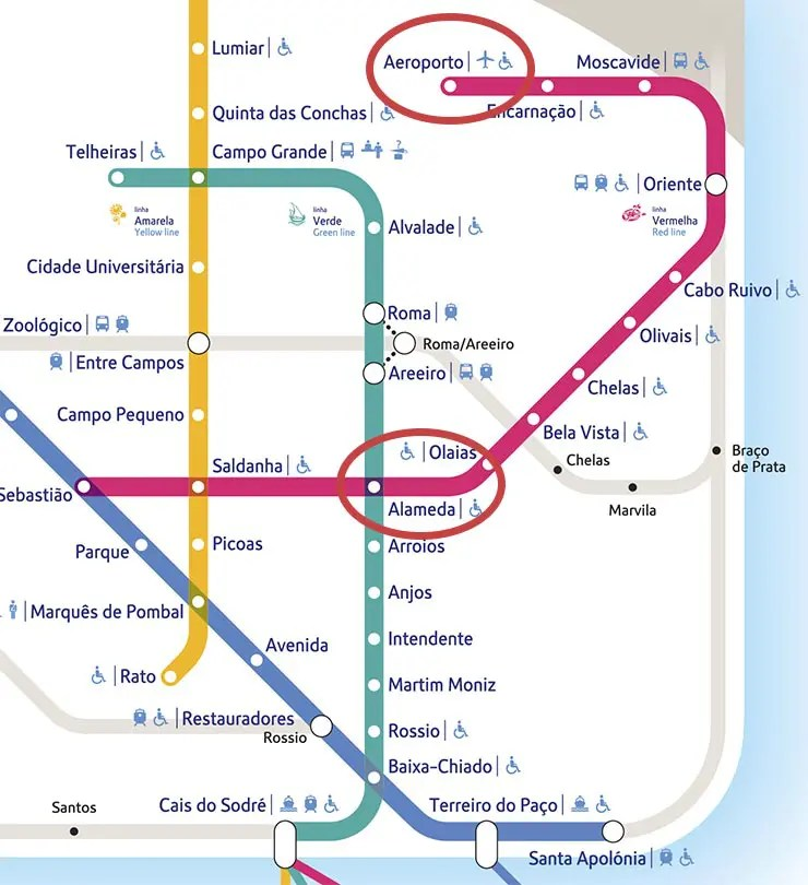 Como ir do aeroporto de Lisboa ao centro - Mapa do Metrô (Foto via Metropolitano)