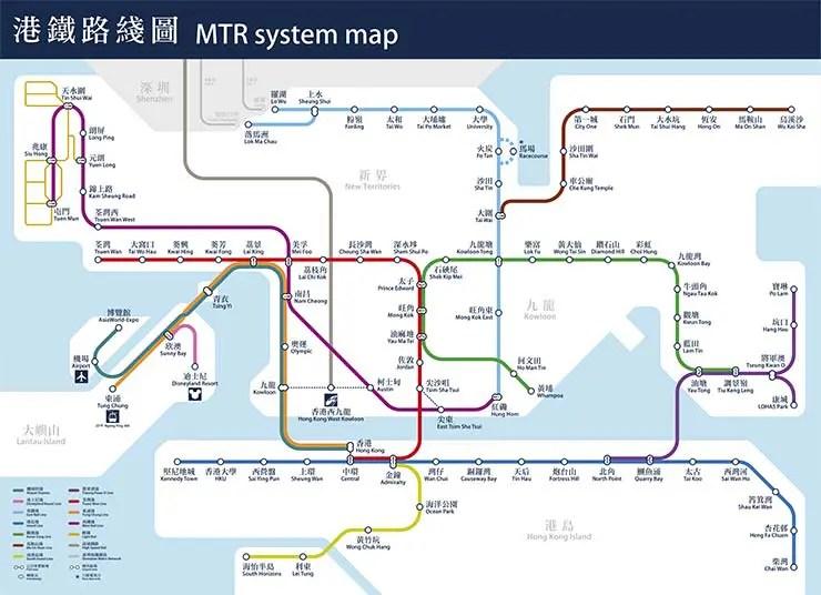 Mapa do metrô de Hong Kong (Divulgação)
