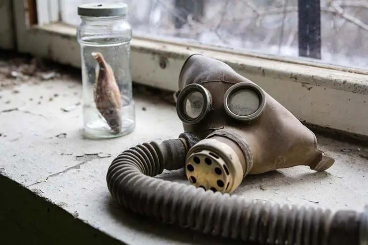 Máscara de radiação infectada em Pripyat, Ucrânia (Por Eight Photo via Shutterstock)