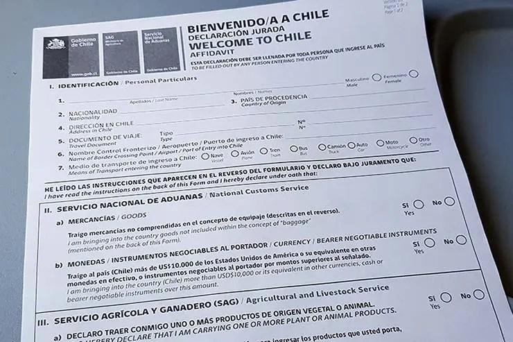 Formulário de imigração no Chile (Foto: Esse Mundo É Nosso)