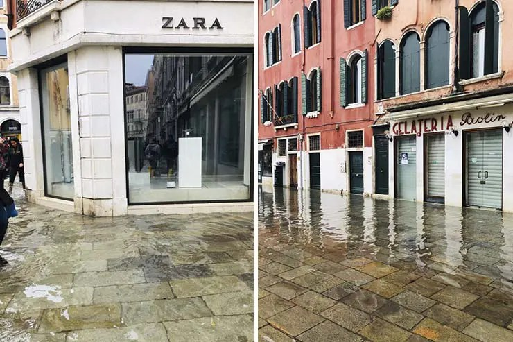 Enchente em Veneza Novembro 2019 (Fotos: Andressa Berton Stankievicz)