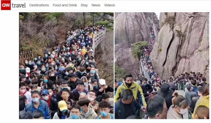 Chineses lotam parque Huangshan em Anhui (Reprodução/CNN Travel)