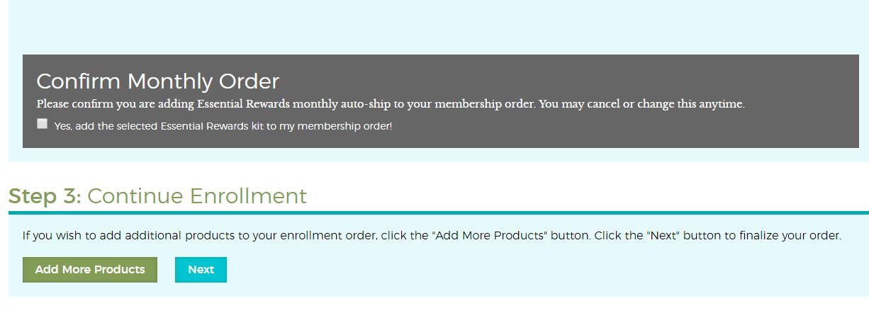 essential rewards confirmation