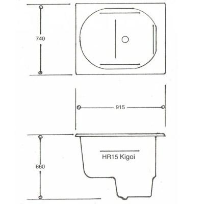Kigoi HR15 Japanese Spa Bath Technical Data