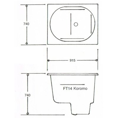 Koromo FT14 Japanese Spa Bath Technical Data