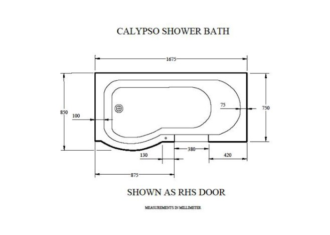 The Calypso Walk In Shower Bath Technical