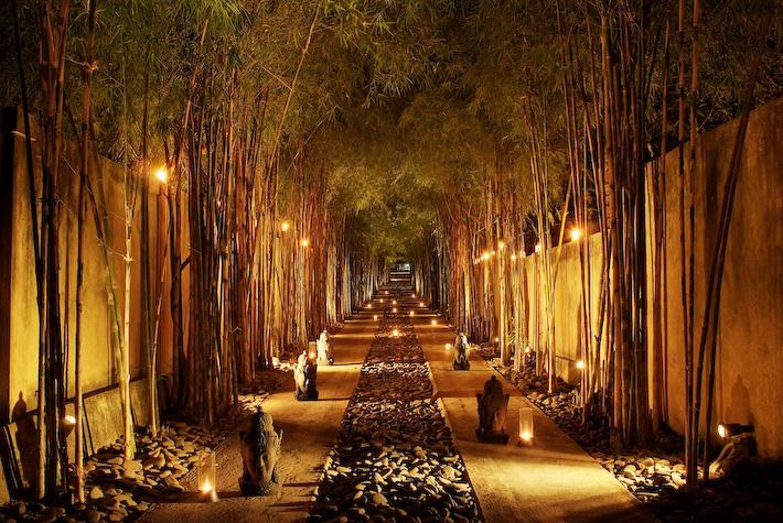 Resort entrance by night[1]