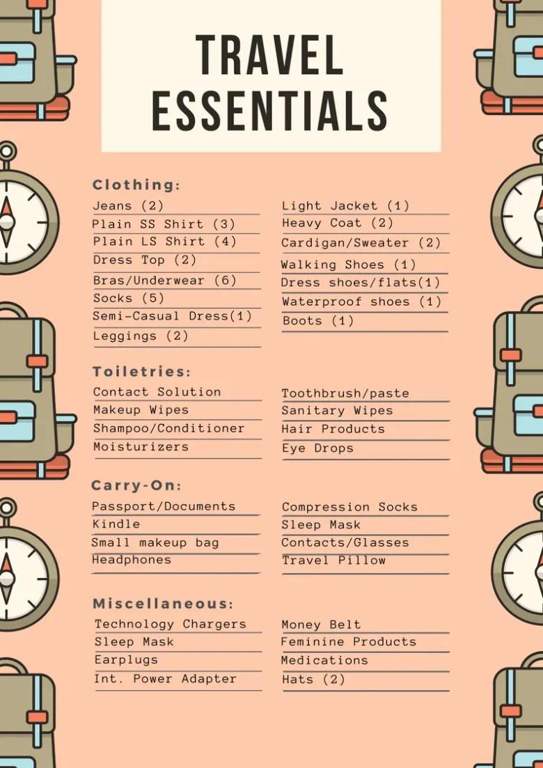 Travel Essentials List
