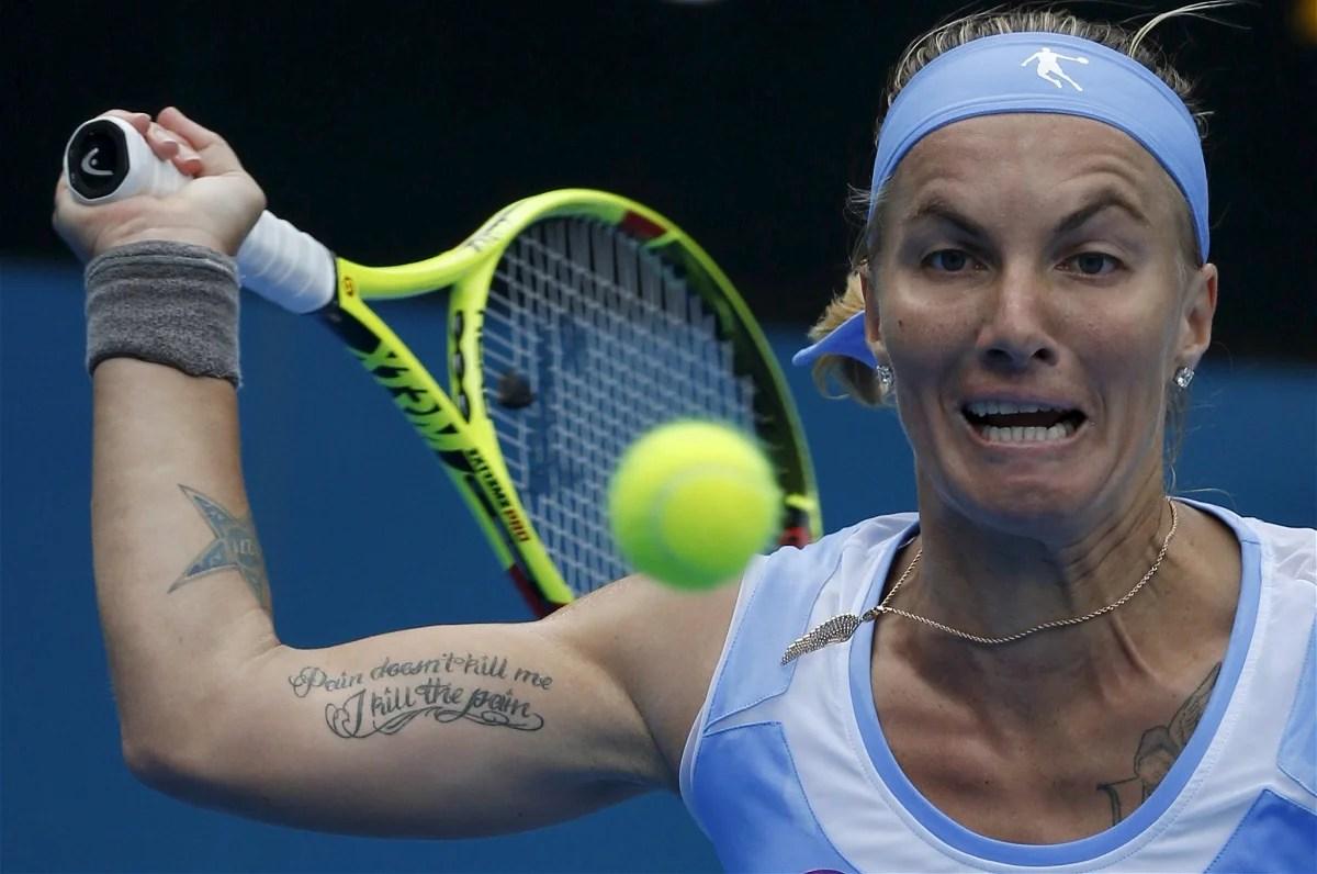 Svetlana Kuznetsova of Russia reacts during her womens singles