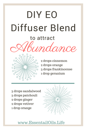 DIY essential oil diffuser blend for attracting abundance and wealth into your life... plus a few extra oils and info about a pre-made blend so you don't have to always DIY