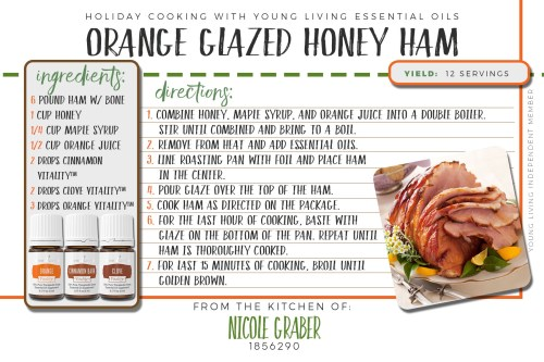 Orange glazed honey ham for a holiday dinner? yes please! This delicious recipe features orange, clove, and cinnamon vitality essential oils
