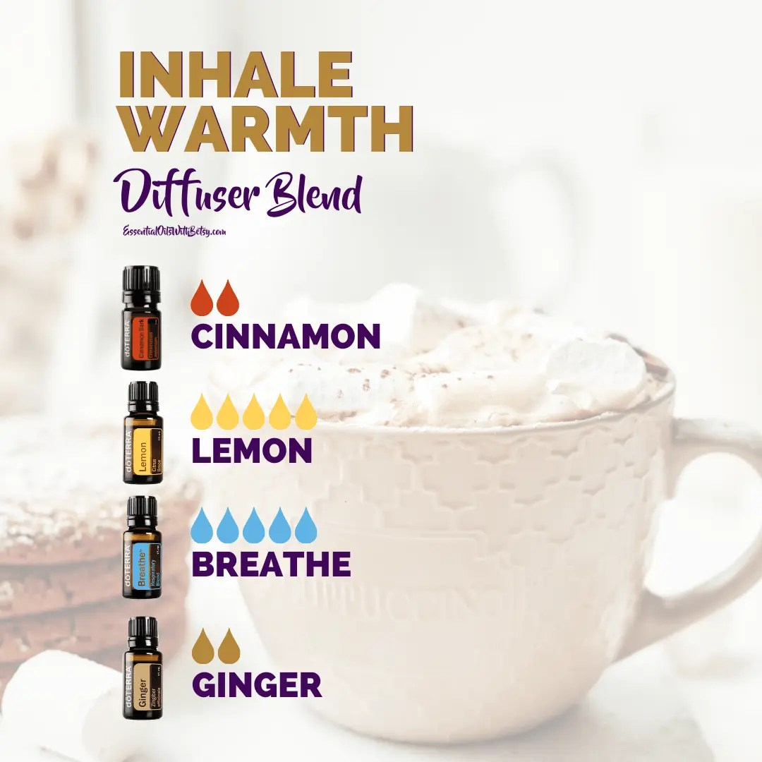 Inhale warmth diffuser blend with cinnamon lemon breathe ginger essential oils