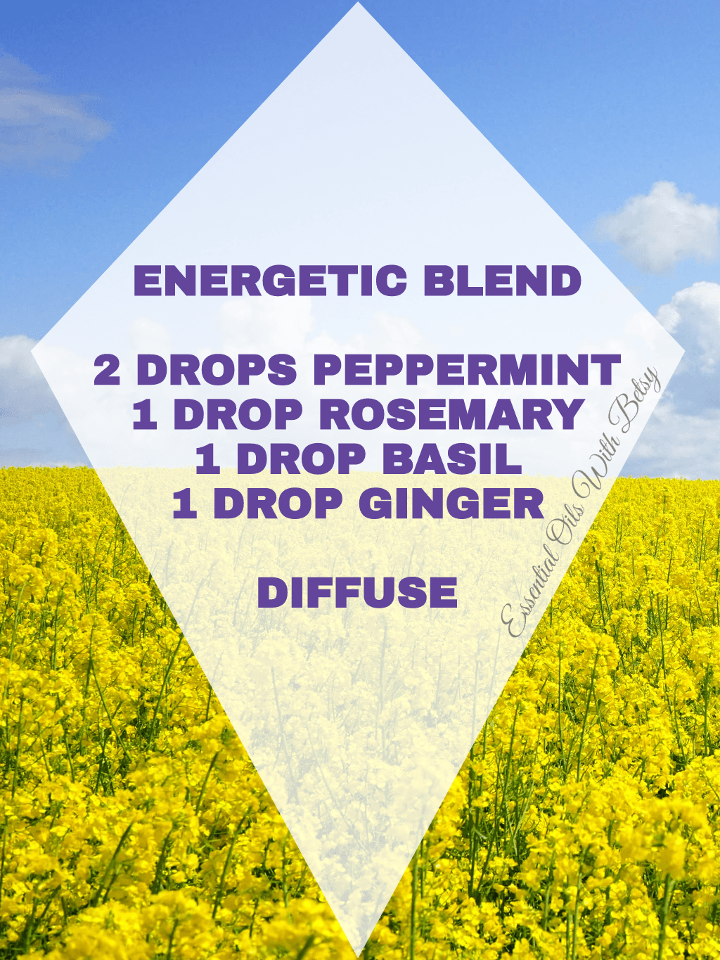 15 BRAND NEW DIFFUSER BLENDS: ENERGETIC BLEND 2 DROPS PEPPERMINT 1 DROP ROSEMARY 1 DROP BASIL 1 DROP GINGER