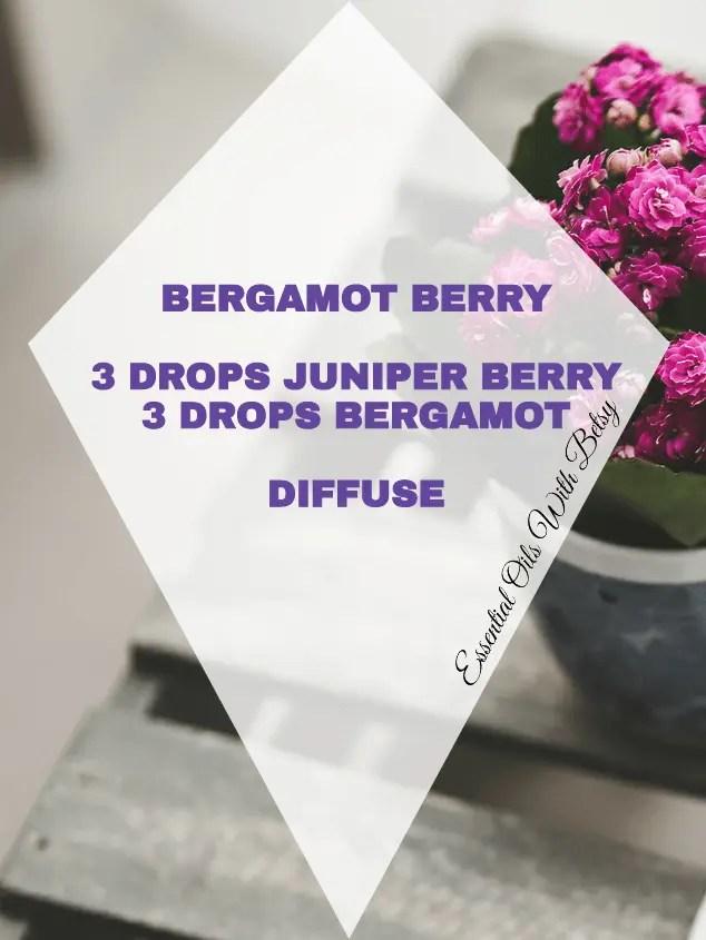 Bergamot Berry: 15 BRAND NEW BLENDS: BERGAMOT BERRY: 3 DROPS JUNIPER BERRY 3 DROPS BERGAMOT DIFFUSE