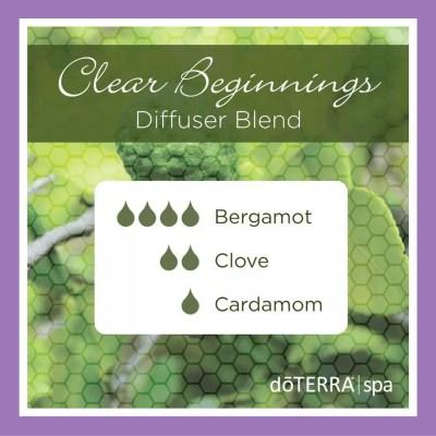 27 doTERRA diffuser blends | Clear Beginnings - 4 drops Bergamot 2 drops Clove 1 drop Cardamom