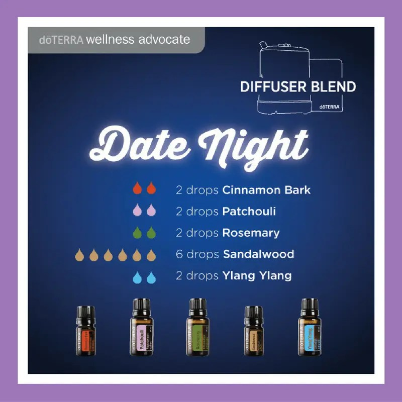 27 doTERRA diffuser blends | Date Night - 2 drops Cinnamon Bark 2 drops Patchouli 2 drops Rosemary 6 drops Sandalwood 2 drops Ylang Ylang