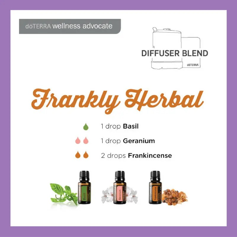 27 doTERRA diffuser blends to try | Frankly Herbal - 1 drop Basil 2 drops Geranium 2 drops Frankincense