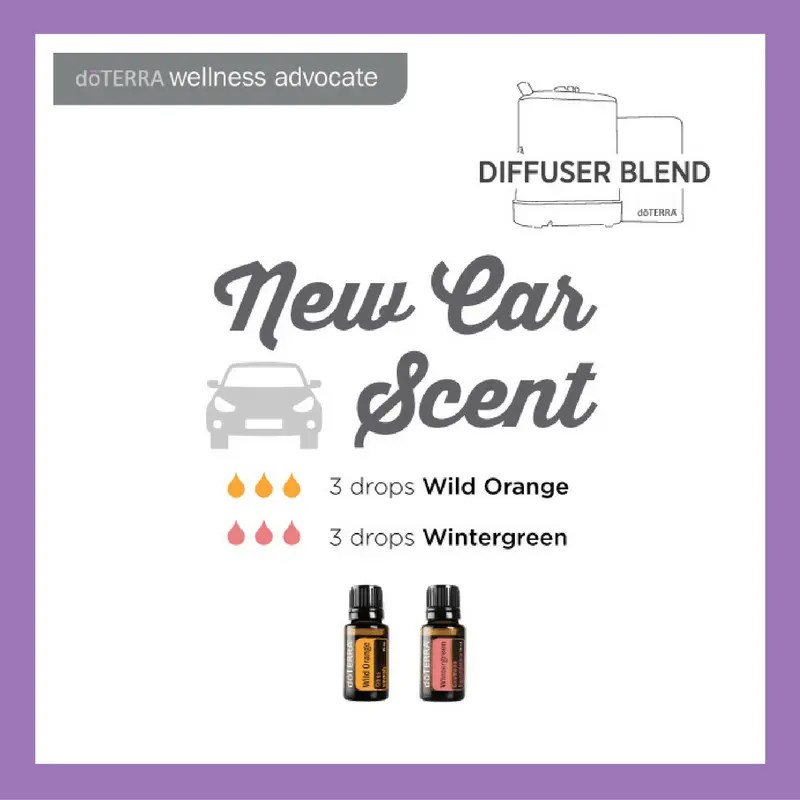 27 doTERRA diffuser blends | New Car Scent - 3 drops Wild Orange 3 drops Wintergreen