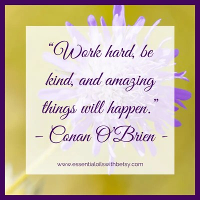 Work hard, be kind, and amazing things will happen.
