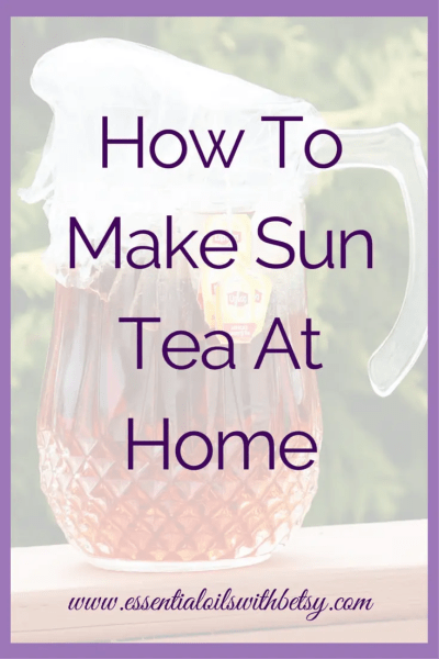 "How To Make Sun Tea At Home Have you ever heard of sweet sun tea? It's a delicious beverage on a hot summer day. Making this simple iced tea drink is easy. Learn how to make sun tea here! ""How To Make Sun Tea At Home"" contains affiliate links. I may make a commission on affiliate links. However, I only work with affiliates whose products I know, use myself and trust. Sun Tea Recipe"
