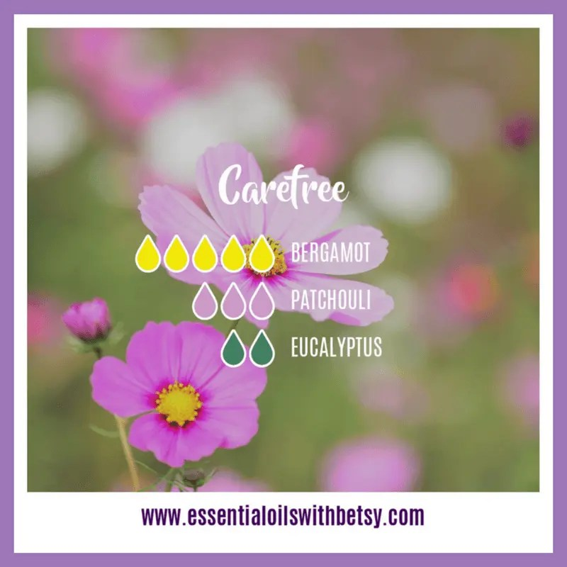 Carefree Spring Diffuser Recipe 5 drops of Bergamot 3 drops of Patchouli 2 drops of Eucalyptus