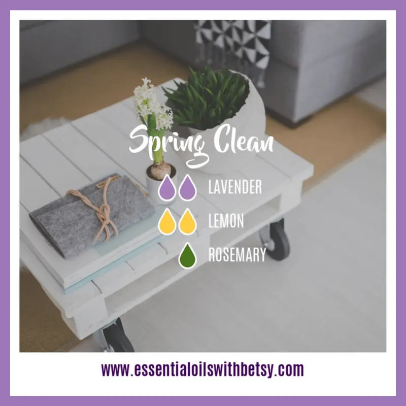 Spring Clean Diffuser Blend 2 drops of Lavender 2 drops of Lemon 1 drop of Rosemary