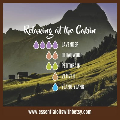 Relaxing At The Cabin Fall Oil diffuser blend: Lavender, Cedarwood, Petitgrain, Vetiver, Ylang Ylang