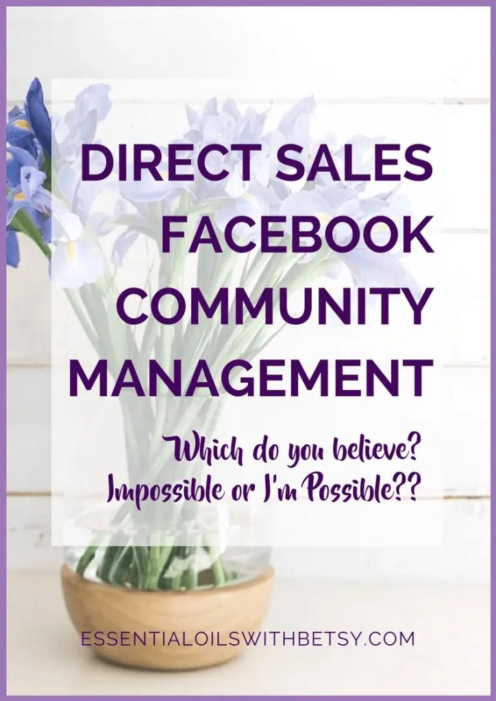 DIRECT SALES FACEBOOK COMMUNITY MANAGEMENT